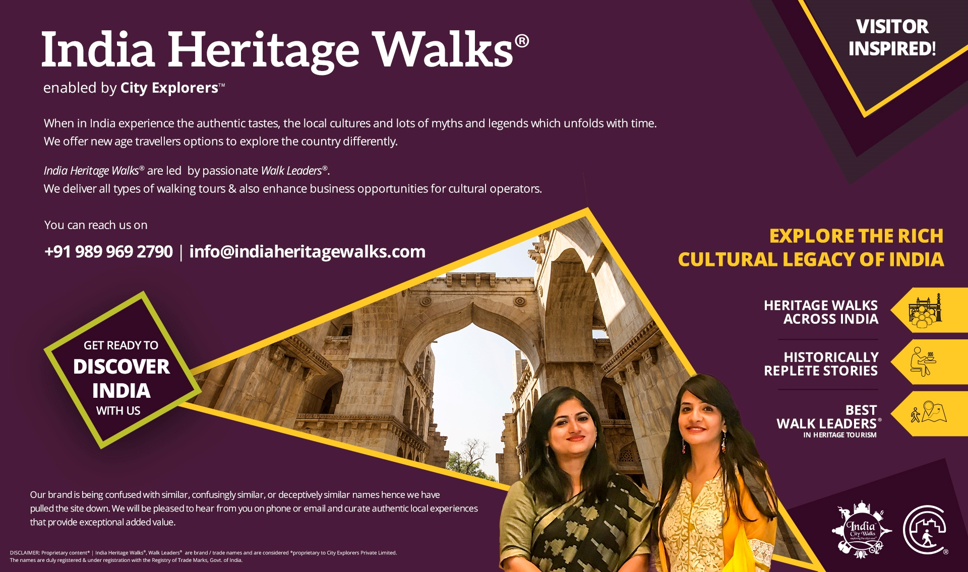 India Heritage Walks®️ (IHW)is a flagship of 'City Explorers®️' facilitated by 'India City Walks', celebrating heritage, culture & history, engaging local population in tourism across India.